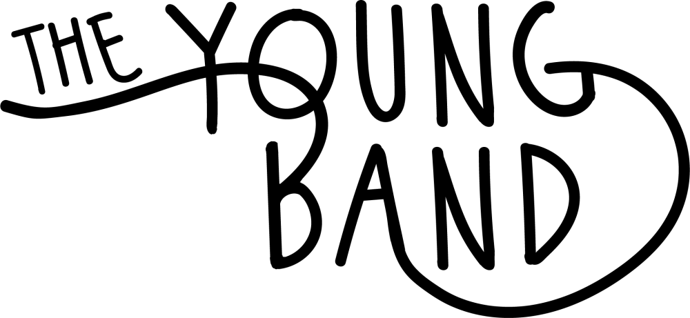 the young band script handwritten logo in black